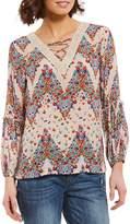 Democracy Lace-Up Crochet V-Neck Long Sleeve Top