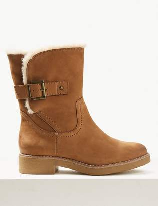 Marks and Spencer Wide Fit Nubuck Faux Fur Cuff Ankle Boots