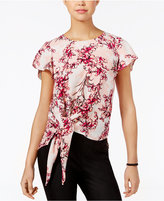 Lily Black Juniors' Printed Tie-Hem Blouse, Only at Macy's