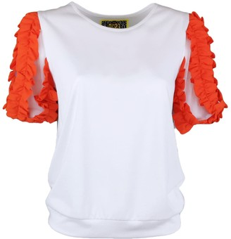 Lalipop Design White Blouse With Puffed Orange Sleeves