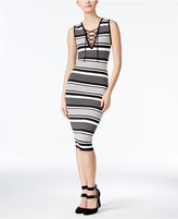 XOXO Juniors' Striped Lace-Up Bodycon Dress
