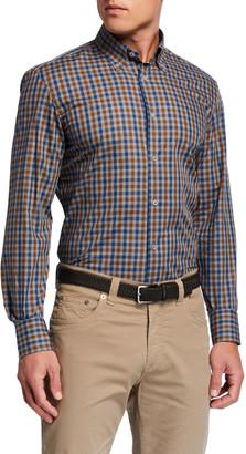 Neiman Marcus Men's Gingham Check Cotton Sport Shirt