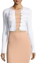 Narciso Rodriguez Crewneck Cropped Cardigan, Gesso/White