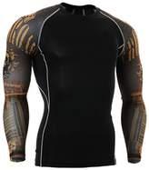 YBL Men's Dry Skin Fit Long Sleeve Compression Printed Shirt Skull