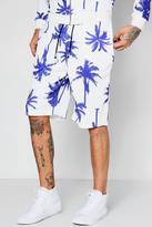 Boohoo Large Palm Print Scuba Long Short