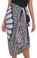 Deer and Elephant Floral Pattern Sequined Rayon Sarong, 'Bright Night'