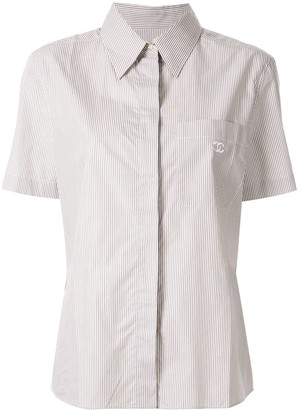 Chanel Pre Owned CC logo short sleeve striped shirt