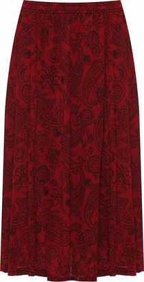 GirlzWalk Title Women's Paisley Print Midi Skirt Ladies Elasticated Stretch Waist Plus Size (Stone SM/UK 8-10)