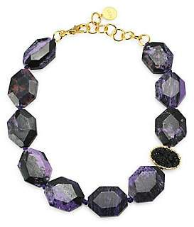 Nest Women's Charoite & 24K Goldplated Statement Necklace