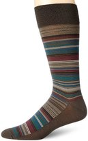 Perry Ellis Men's Multi-Stripe Mercerized Cotton Dress Sock