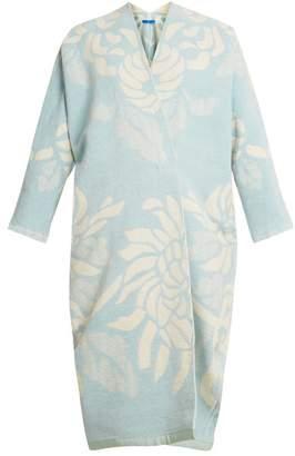Märit Ilison - Reversible Floral Jacquard Cotton Chenille Coat - Womens - Blue White