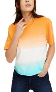 Rebellious One Juniors' Printed Dip-Dye T-Shirt