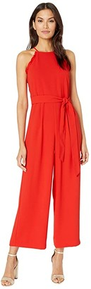 CeCe Sleeveless Ruffled Jumpsuit with Belt (Candy Apple) Women's Jumpsuit & Rompers One Piece
