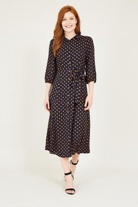Mela Navy Polka Dot Shirt Dress