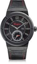Salvatore Ferragamo F-80 Motion Black IP Stainless Steel Men's Watch w/Black Croco Embossed and Rubber Strap