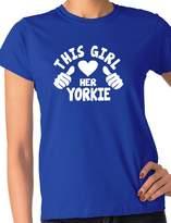Print4u This Girl Loves Her Yorkie Dog Ladies T-shirt Ladies Fit Med