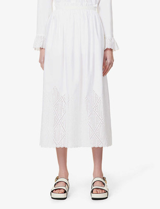 Chloé Embroidered high-waist cotton-poplin midi skirt