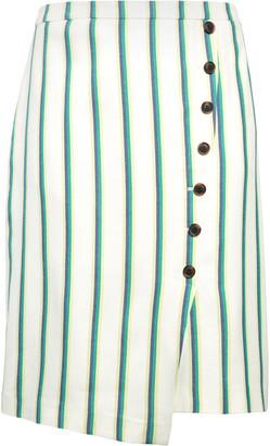 Halogen Stripe Faux Wrap Pencil Skirt