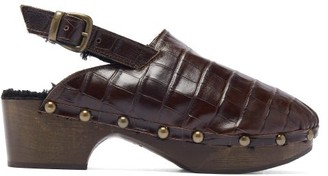 Avec Moderation - Ruka Crocodile-effect Leather Slingback Clogs - Womens - Dark Brown