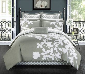 Chic Home Sire Reversible Floral & Diamond Pattern Comforter Set