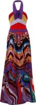 Roberto Cavalli Dreamscape Print Halter Gown