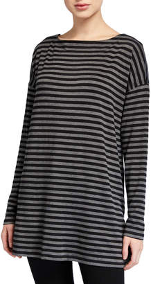 Eileen Fisher Petite Striped Bateau-Neck Long-Sleeve Terry Top w/ Side Slit