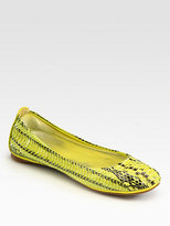 Tory Burch Eddie Snakeskin Leather-Trimmed Ballet Flats