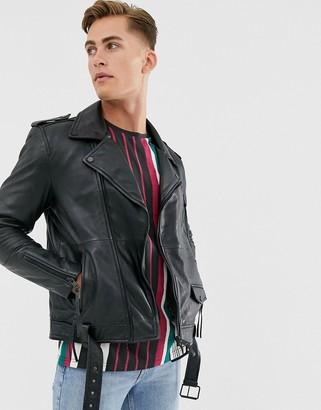Barneys New York Barneys Originals real leather zipped biker jacket with belt-Black
