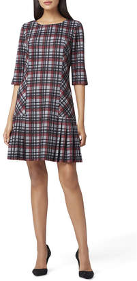 Tahari ASL Plaid Ponte Knit Pleated Skirt Dress