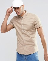 Asos Skinny Shirt In Stone Twill With Short Sleeves
