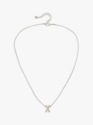 Susan Caplan Vintage Nina Ricci Rhodium Plated Swarovski Crystal Criss Cross Pendant Necklace, Silver
