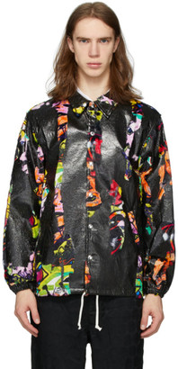 Comme des Garcons Black and Multicolor Faux-Fur Print Jacket