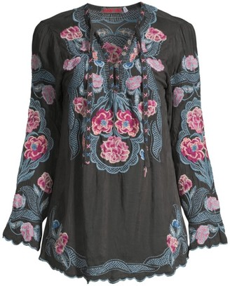 Johnny Was Afia Embroidered Floral Blouse