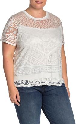 Laundry by Shelli Segal Crew Neck Burnout T-Shirt (Plus Size)