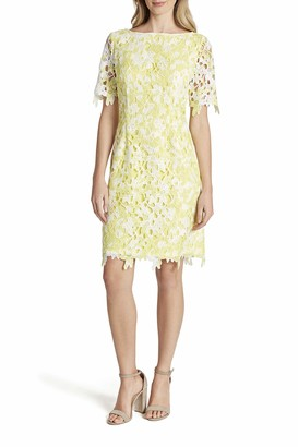 Tahari ASL Women's Short Sleeve Printed Lace Sheath Dress