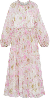 Zimmermann Super Eight Gathered Floral-print Silk-chiffon Midi Dress