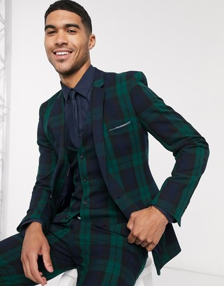 ASOS DESIGN super skinny suit jacket in blackwatch tartan