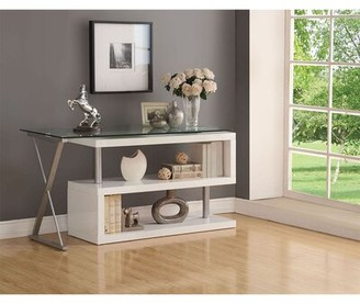 Orren Ellis Afanasii Glass L-Shape Desk Color: White