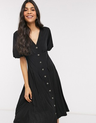 French Connection Serafin slinky button through dress in black