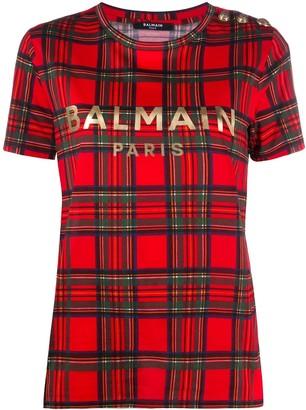 Balmain checked logo print T-shirt