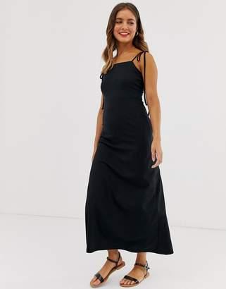 Asos Design DESIGN tie strap maxi sundress-Black