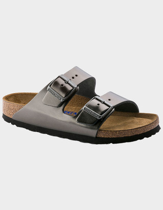 Birkenstock Arizona Soft Footbed Leather Womens Metallic Anthracite Sandals