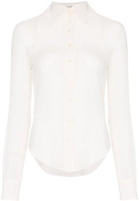 Saint Laurent extended wing collar long-sleeved silk shirt