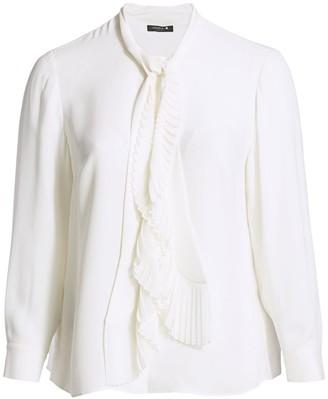 Lafayette 148 New York, Plus Size Bates Neck-Tie Silk Blouse