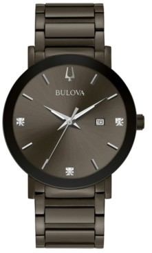 Bulova Men's Millennia Diamond-Accent Gray Stainless Steel Bracelet Watch 42mm