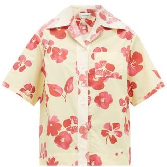 Wales Bonner Hibiscus-print Cuban-collar Cotton-poplin Shirt - Womens - Yellow Multi