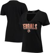 New Era Women's Black Cincinnati Bengals Gradient Glitter Choker V-Neck T-Shirt