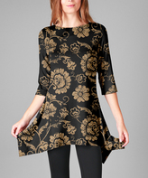 Lily Black & Gold Floral Sidetail Tunic