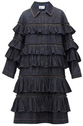 Valentino Ruffled-tier Denim Coat - Womens - Denim