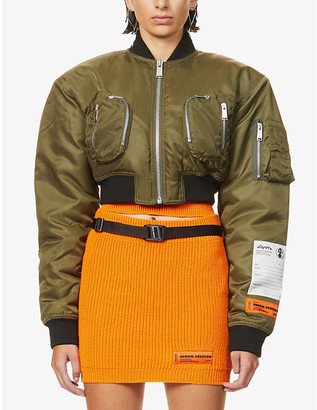 Heron Preston Logo-embroidered cropped shell jacket